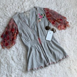 Anthropologie Embroidered Floral Cardigan Sweater